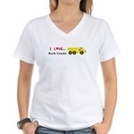I Love Rock Trucks Women's V-Neck T-Shirt