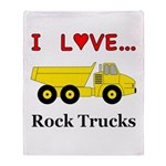 I Love Rock Trucks Throw Blanket