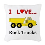 I Love Rock Trucks Woven Throw Pillow
