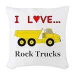 I Love Rock Trucks Woven Throw Pillow