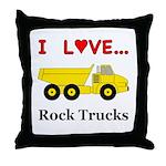 I Love Rock Trucks Throw Pillow