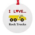 I Love Rock Trucks Round Ornament
