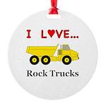I Love Rock Trucks Round Ornament