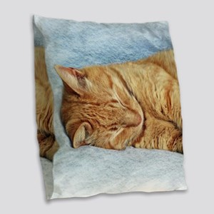 Sleepy Kitty Burlap Throw Pillow