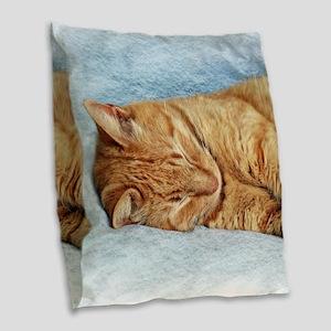 Sleepy Kitty Burlap Throw Pillow