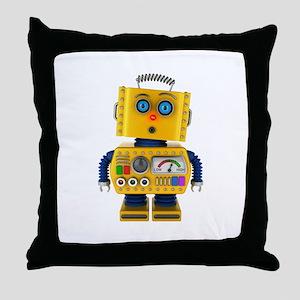 Surprised toy robot Throw Pillow