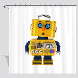 Surprised toy robot Shower Curtain
