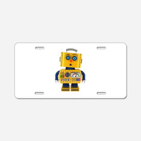 Surprised toy robot Aluminum License Plate