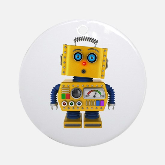 Surprised toy robot Round Ornament