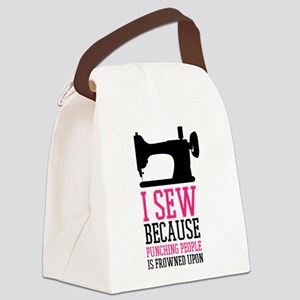 Sew and Punching People Canvas Lunch Bag