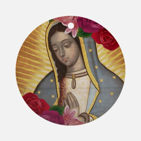 Virgin of Guadalupe with Roses Round Ornament