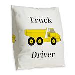 Truck Driver Burlap Throw Pillow
