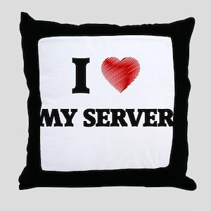 I Love My Server Throw Pillow