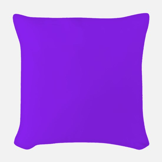 Neon Purple Solid Color Woven Throw Pillow