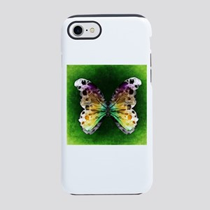 Rainbow Butterfly on Green iPhone 8/7 Tough Case