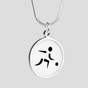 Bowling player icon Silver Round Necklace