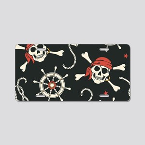Pirate Skulls Aluminum License Plate