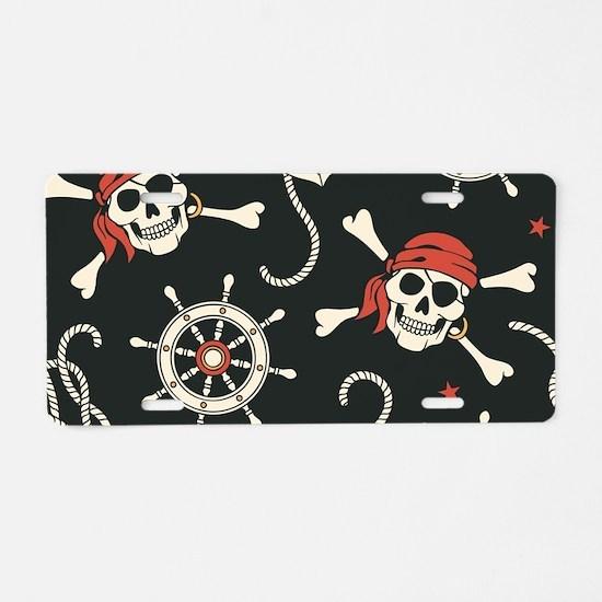 Pirate Skulls Aluminum License Plate