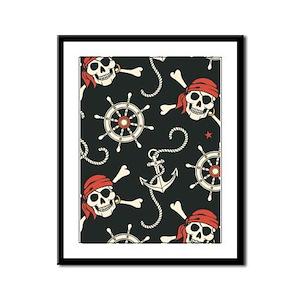 Pirate Skulls Framed Panel Print