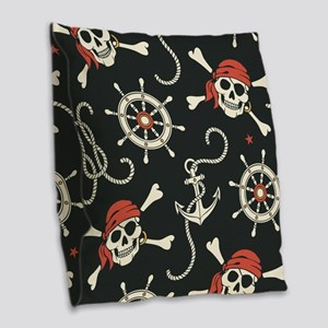 Pirate Skulls Burlap Throw Pillow