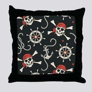 Pirate Skulls Throw Pillow