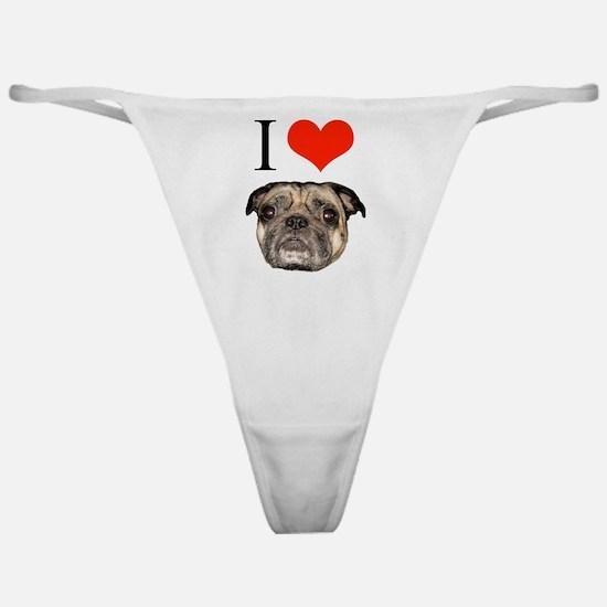 i <3 Pugs Classic Thong