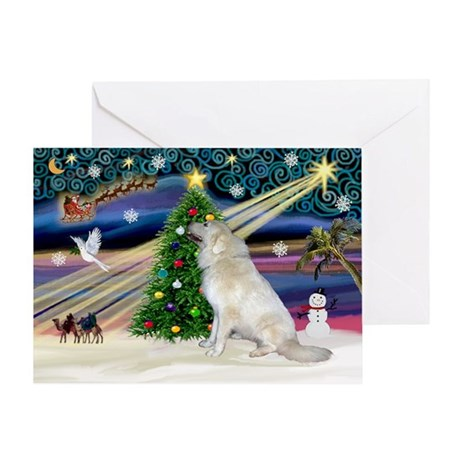 XmasMagic/Gr Pyrenees Greeting Card
