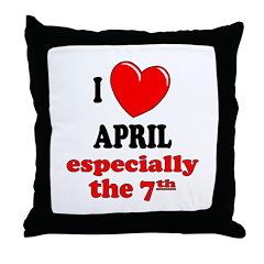 April 7th Throw Pillow