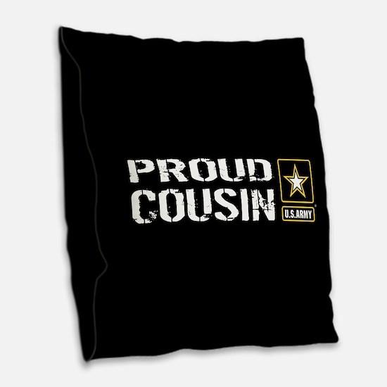 U.S. Army: Proud Cousin (Black Burlap Throw Pillow