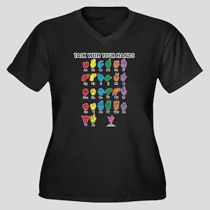 Learn Sign L Women's Plus Size V-Neck Dark T-Shirt