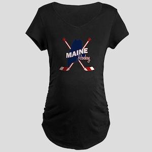 Maine Hockey Maternity Dark T-Shirt