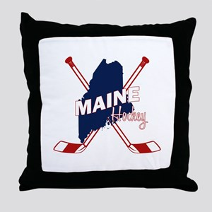 Maine Hockey Throw Pillow