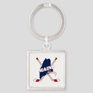 Maine Hockey Square Keychain