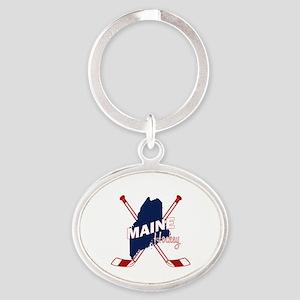 Maine Hockey Oval Keychain