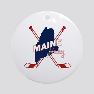 Maine Hockey Round Ornament