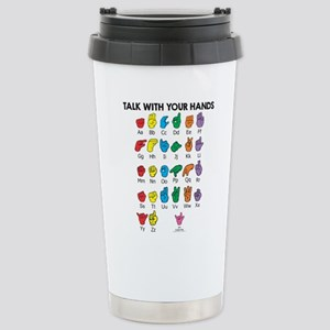 Learn Sign Language Stainless Steel Travel Mug