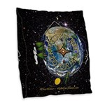 Hiker's Soul Compass Space Burlap Throw Pillow