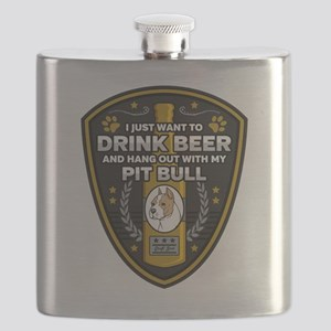 Pit Bull I Just Want To Drink Beer Flask