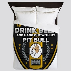Pit Bull I Just Want To Drink Beer Queen Duvet