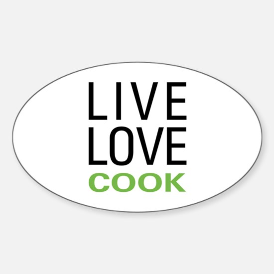 Live Love Cook Sticker (Oval)