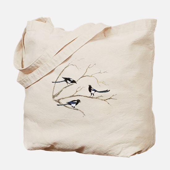 Watercolor Magpie Bird Family Tote Bag