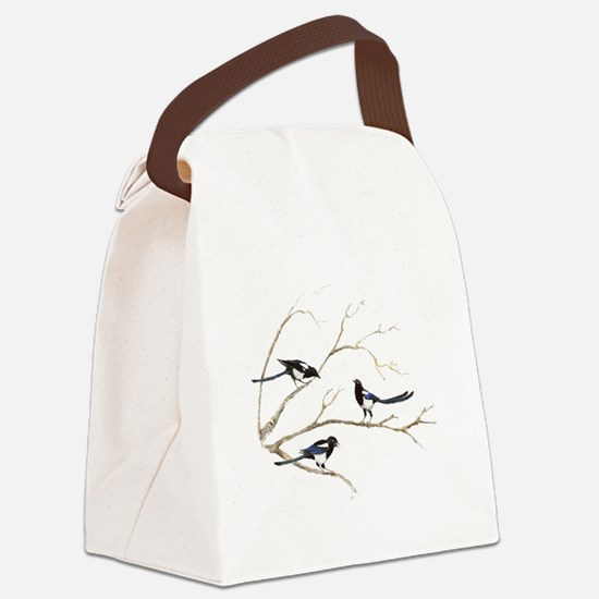 Watercolor Magpie Bird Family Canvas Lunch Bag