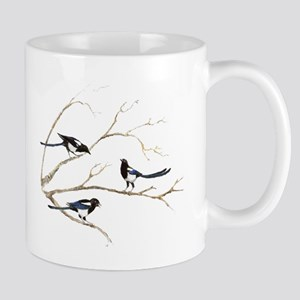 Watercolor Magpie Bird Family Mugs