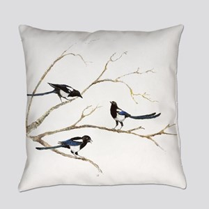Watercolor Magpie Bird Family Everyday Pillow