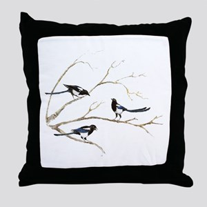 Watercolor Magpie Bird Family Throw Pillow