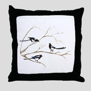 Watercolor Magpie Bird Family Throw Pillow