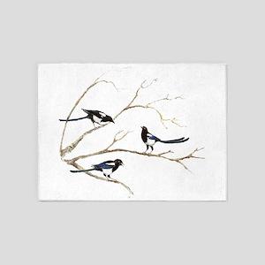 Watercolor Magpie Bird Family 5'x7'Area Rug