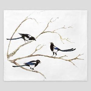 Watercolor Magpie Bird Family King Duvet
