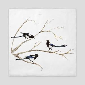 Watercolor Magpie Bird Family Queen Duvet