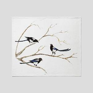 Watercolor Magpie Bird Family Throw Blanket